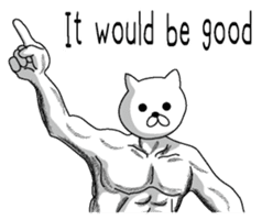 Muscle white cat English version sticker #4783617