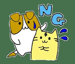 Close dog and cat sticker #4793868