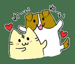 Close dog and cat sticker #4793879