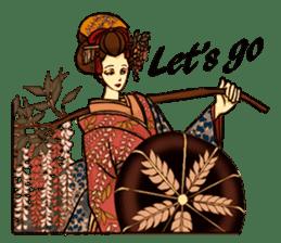 Kimono Japanese-style beautiful woman sticker #4803041