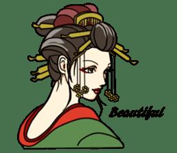 Kimono Japanese-style beautiful woman sticker #4803050