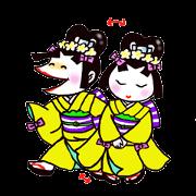 สติ๊กเกอร์ไลน์ Japanese kimono girl named Okatsuchan