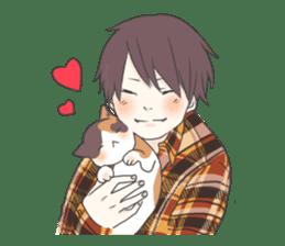 Cat and boy sticker #4819326