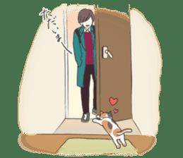 Cat and boy sticker #4819330