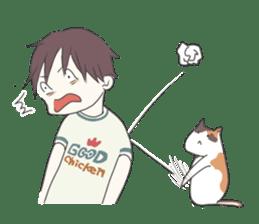 Cat and boy sticker #4819332