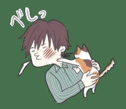 Cat and boy sticker #4819333