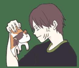 Cat and boy sticker #4819334