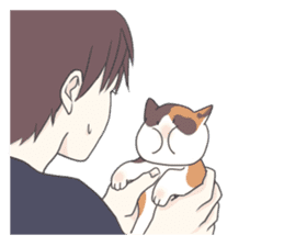 Cat and boy sticker #4819336