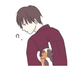 Cat and boy sticker #4819337