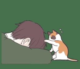 Cat and boy sticker #4819340