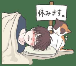 Cat and boy sticker #4819341
