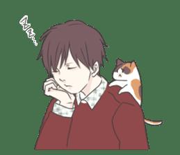 Cat and boy sticker #4819345
