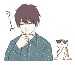 Cat and boy sticker #4819357