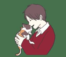 Cat and boy sticker #4819359