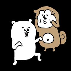 White dog and Shiba inu