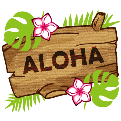 """ALOHA!"" Hawaiian & Tropical Sticker"