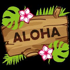 """ALOHA!"" Hawaiian & Tropical Sticker"