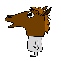 wearing a headdress of horse