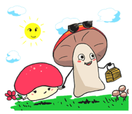 happy mushrooms real color version sticker #5264520