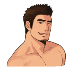 Muscular guy sticker #5336986