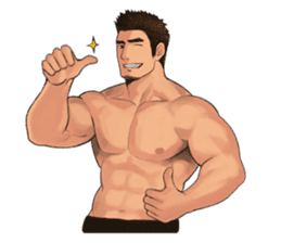 Muscular guy sticker #5336994