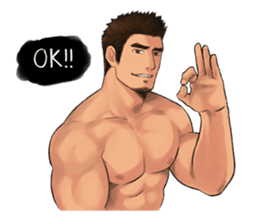 Muscular guy sticker #5336997