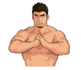 Muscular guy sticker #5336998