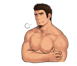 Muscular guy sticker #5336999