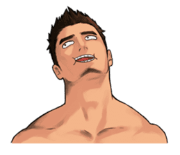 Muscular guy sticker #5337001