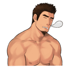 Muscular guy sticker #5337003