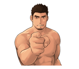 Muscular guy sticker #5337004