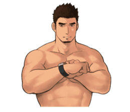 Muscular guy sticker #5337009