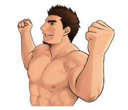 Muscular guy sticker #5337010