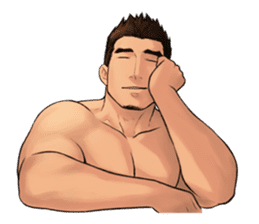 Muscular guy sticker #5337011