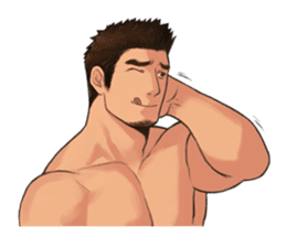 Muscular guy sticker #5337013