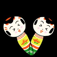 Japanese kokeshi doll colorful