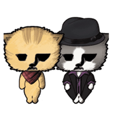 Dinner party of a gangstar cat English sticker #5707303