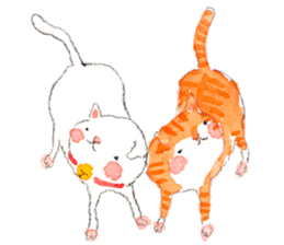 Easy going white cat sticker #5708734