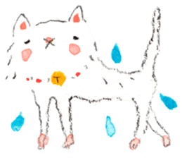 Easy going white cat sticker #5708737