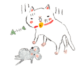 Easy going white cat sticker #5708739
