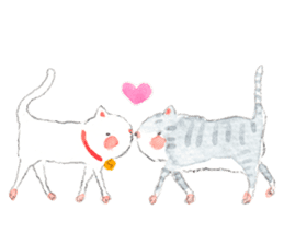 Easy going white cat sticker #5708745
