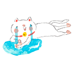 Easy going white cat sticker #5708746