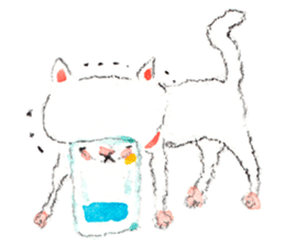 Easy going white cat sticker #5708747
