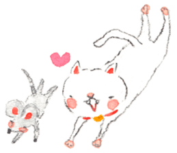 Easy going white cat sticker #5708749