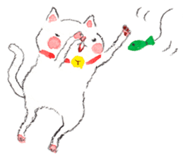 Easy going white cat sticker #5708750