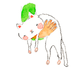 Easy going white cat sticker #5708751