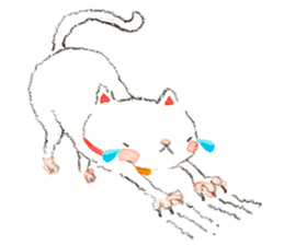 Easy going white cat sticker #5708752