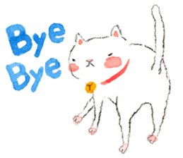 Easy going white cat sticker #5708757