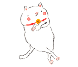 Easy going white cat sticker #5708760