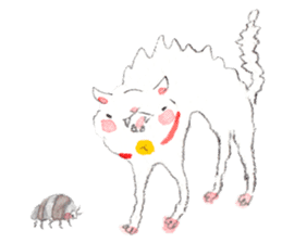 Easy going white cat sticker #5708763